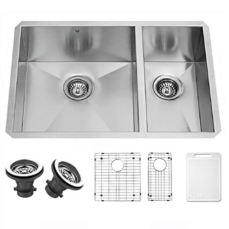 VIGO 29 inch Undermount 70/30 Double Bowl 16 Gauge Stainless Steel ...