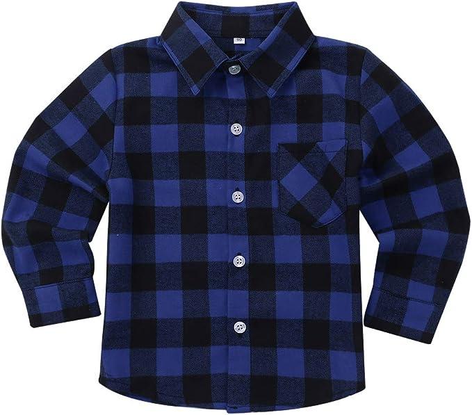 iixpin Camisa Infantil de Algodón con Botones Camisa a Cuadros Manga Larga Blusa Clásica con Solapa para Bebé Niños 18 Meses-10 Años: Amazon.es: Ropa y accesorios