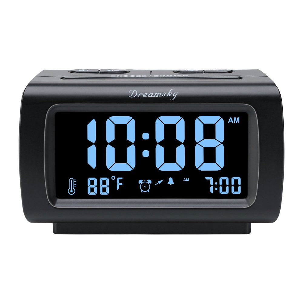 DreamSky Decent Alarm Clock Radio FM Radio, USB Port Charging, 1.2'' Blue Digit Display Dimmer, Temperature Display, Snooze, Adjustable Alarm Volume, Sleep Timer.