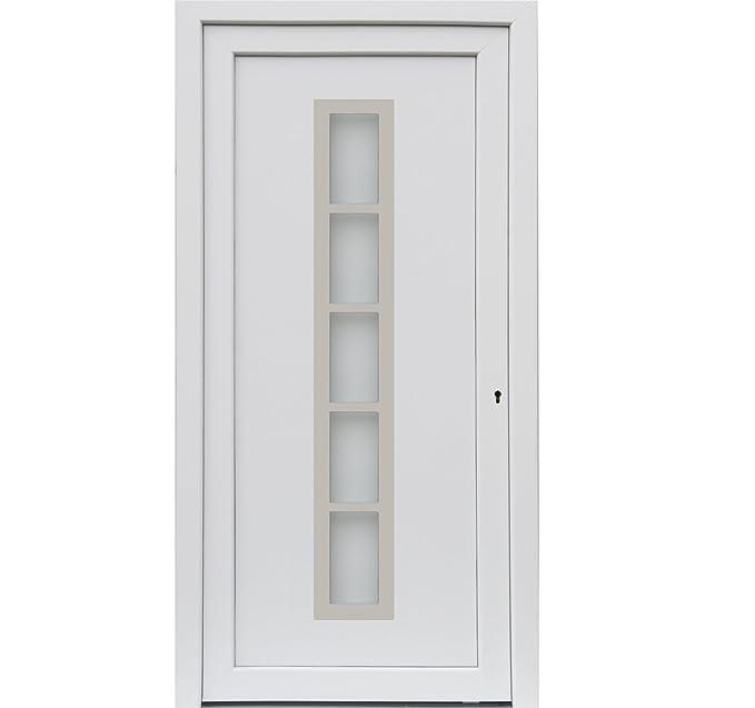 kuporta Kunststoff Haust/ür Carbo 98 x 190 cm DIN rechts wei/ß mit Dr/ücker-Set und Montage-Set