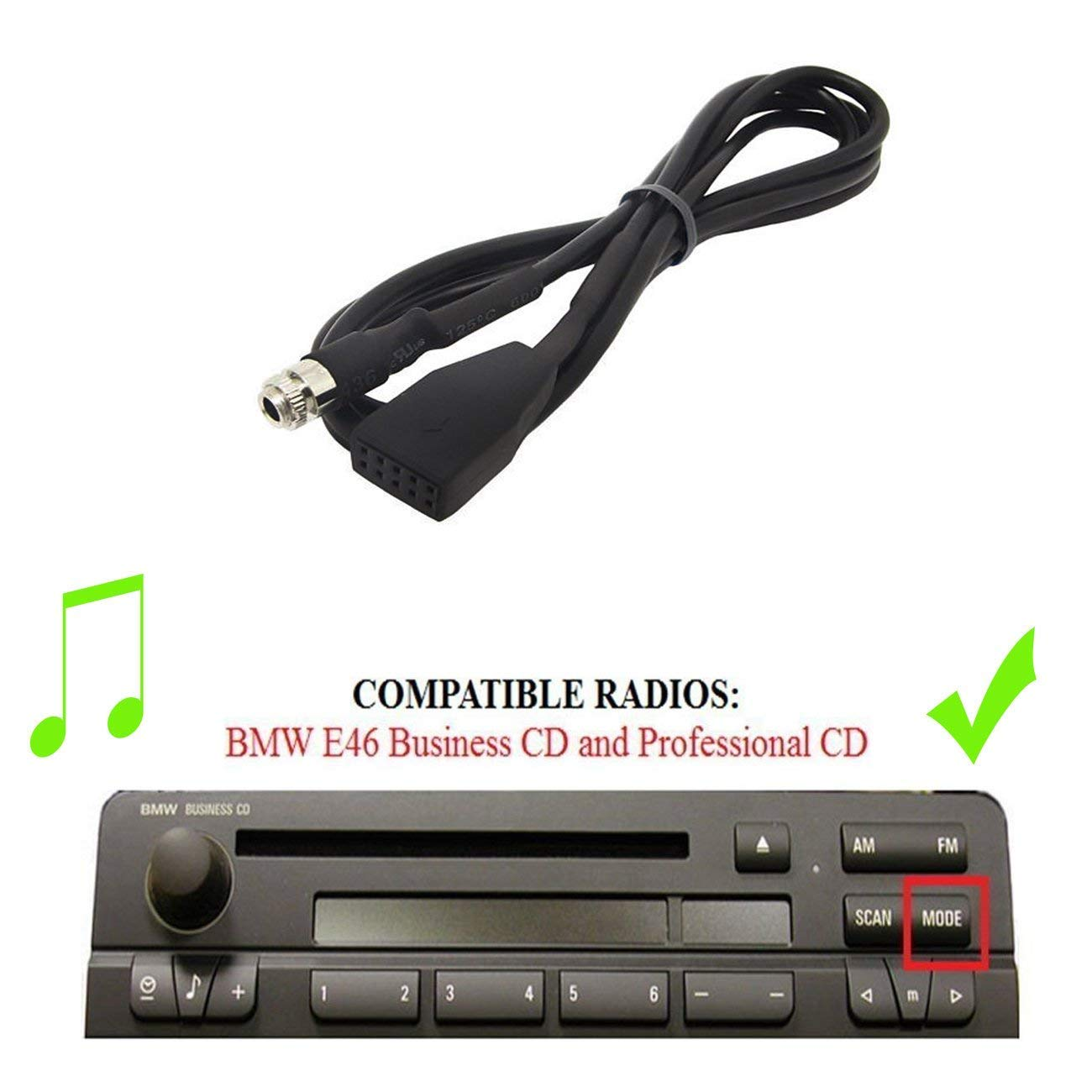 Drimfly BMW 3 E46 AUX Input Adaptor,3.5MM Jack Connector Auxiliary Input Adaptor CD Changer Cable for BMW 325i 325ci 325xi 330i 330ci 330xi M3