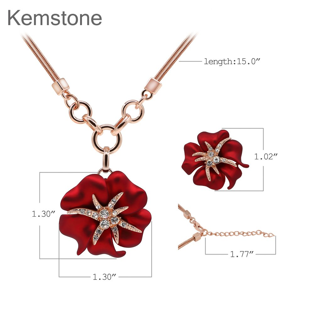 7193439f7 Amazon.com: Kemstone Attractive Rose Gold Crystal Red Flower Pendant  Necklace Stud Earrings Jewelry Sets, 15