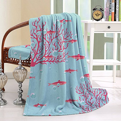HAIXIA Throw Blanket Coral Aquatic with Little Cute Fishes and Coral Reef Bubbles Water Coral Dark Coral Baby Blue