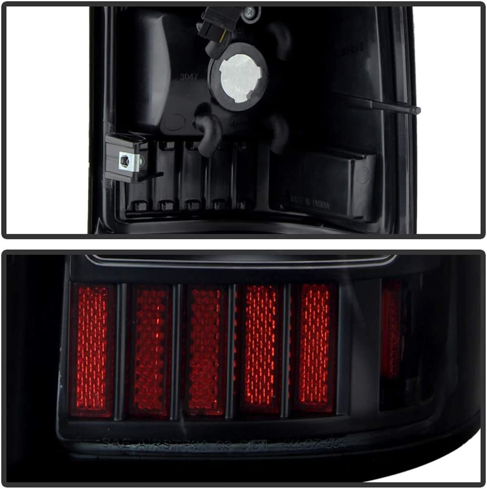C-Shape LED Tail Lights Lamps ACANII For Black Smoke 1999-2002 Chevy Silverado GMC Sierra