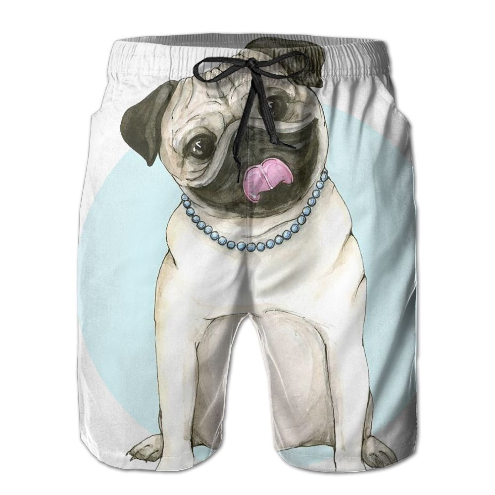 Mens Watercolor Pug Pattern Shorts Elastic Waist Pockets Lightweight Beach Shorts Boardshort