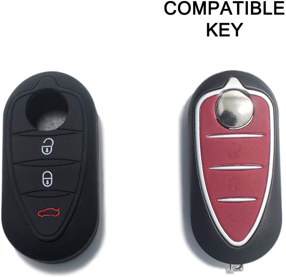 Coque de Silicone Cover Cl/é pour T/él/écommande Alfa Romeo Mito Giulietta Brera 159-3 Boutons Noir//Rouge
