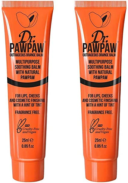 Dr. PAWPAW Outrageous Orange Multi-Purpose 100% Natural Vegan Friendly Balm | Twin Pack|