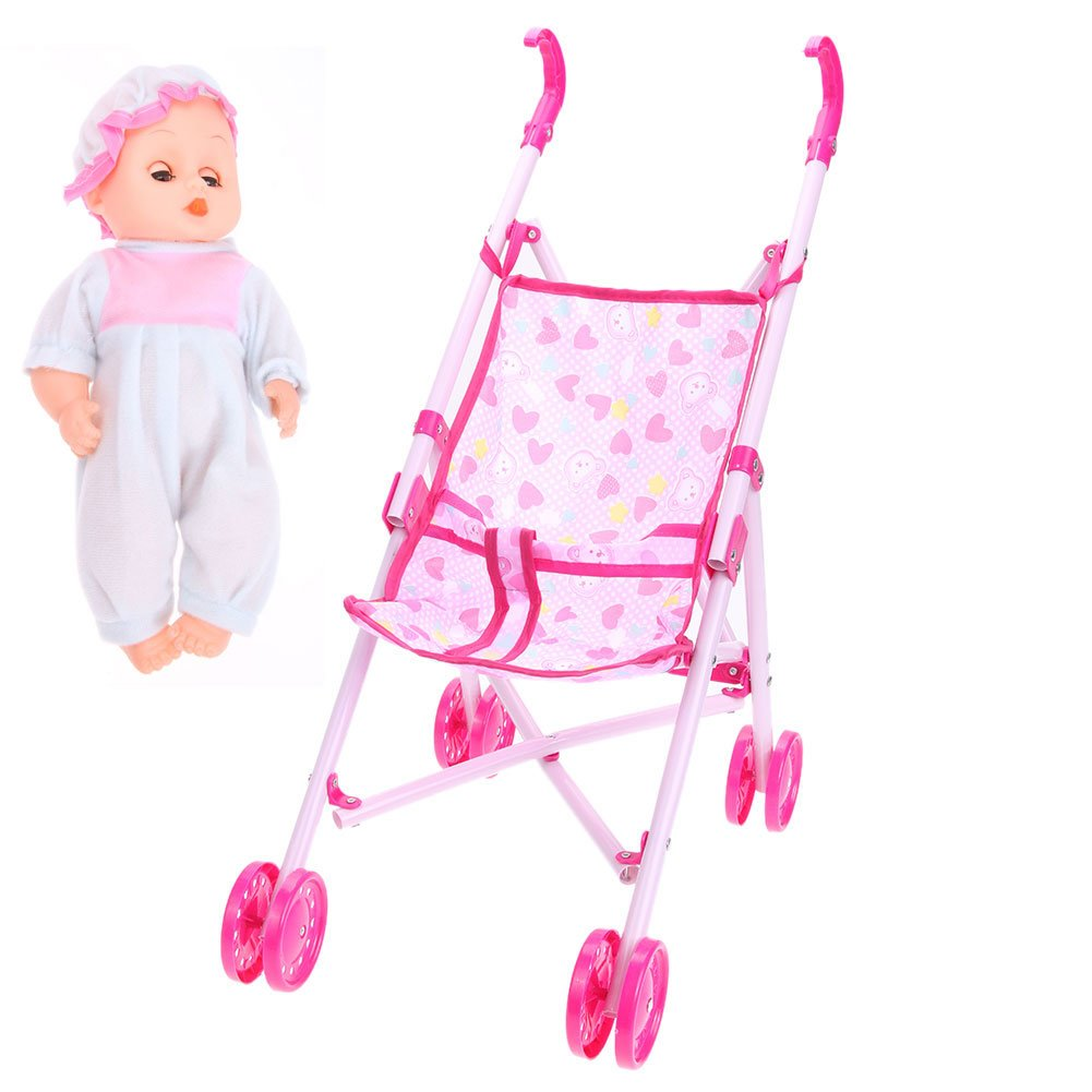 Amazon.com: Amazingdeal Baby Buggy Stroller Doll Toy Pushchair Pram FoldableBaby Girls Toy Pram Gifts: Toys & Games