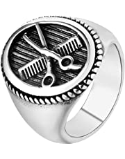 SAINTHERO Men's Vintage Gothic Stainless Steel Rings Silver Black Scissors Comb Carved Barber Signet Band Rings Size 7-12