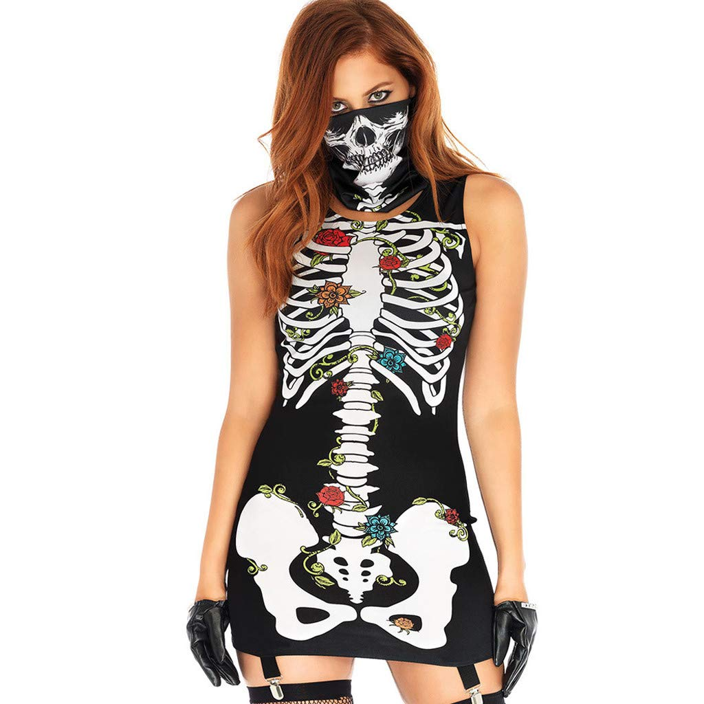Halloween Costumes Womens Sleeveless Tank T Shirt Dress Skeleton 3D Graphic Bodycon Midi Dresses with Mask Masquerade Party Cosplay Clubwear