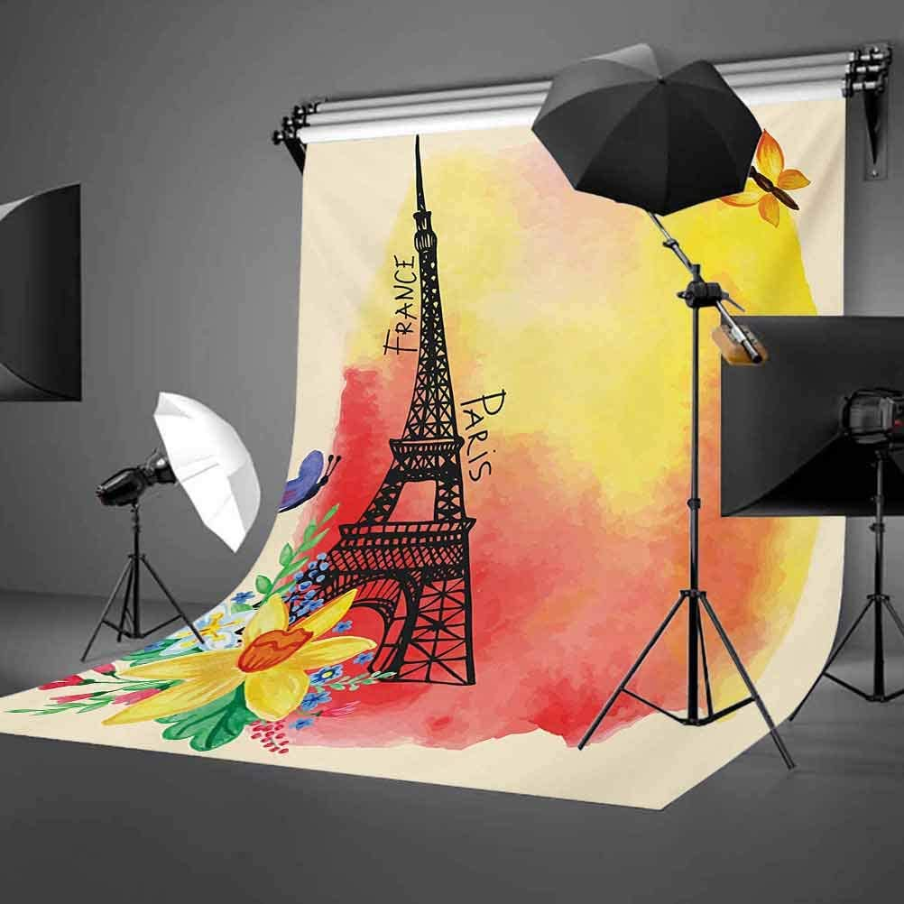 6.5x10 FT Photo Backdrops,Romantic Floral Watercolor Eiffel with Butterfly Historical French Heritage Art Background for Baby Shower Birthday Wedding Bridal Shower Party Decoration Photo Studio