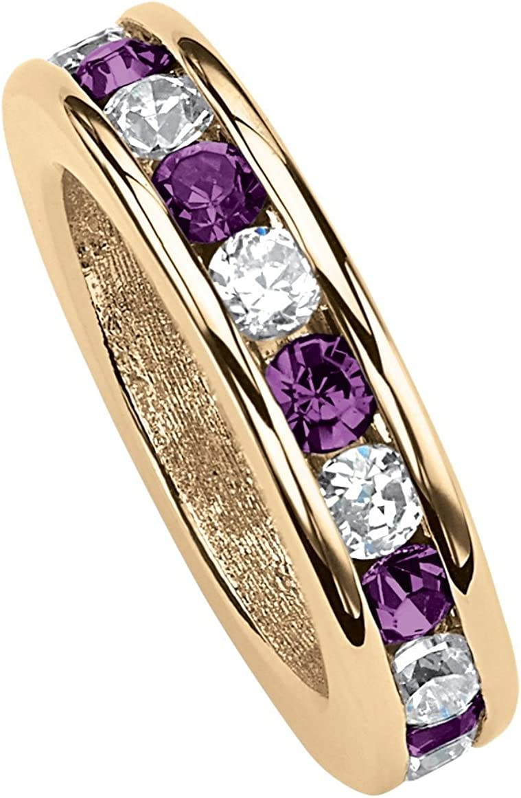 Simulated Amethyst Lux 14K Yellow Gold Plated Round Simulated Birthstone and Round Crystal Charm Pendant 4mm - February