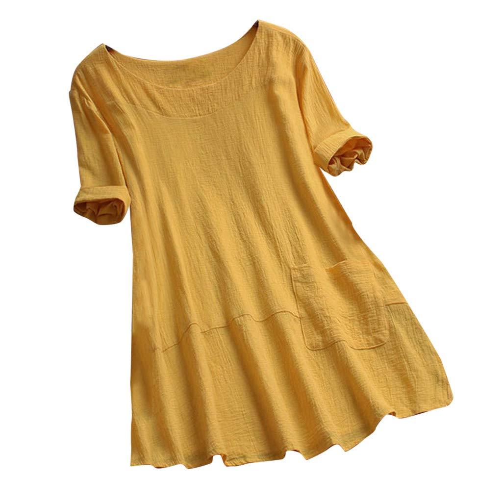 HWTOP Damen T-Shirt Casual Shirt Solide Bluse Oansatz Top mit Taschen Oberteile Kurzarm Tshirt Baumwoll Leinen Gro/ße Gr/ö/ßen Tunika