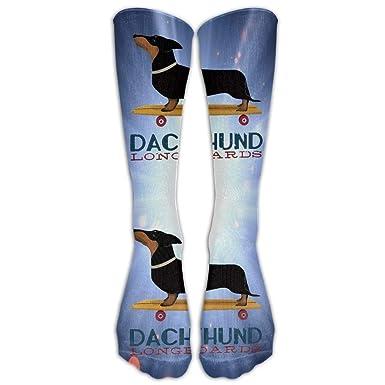 Glitter Gold Daschund Dog Casual Unisex Sock Knee Long High Socks Sport Athletic Crew Socks One Size