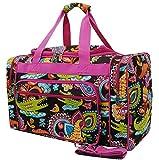 N.Gil Travel Duffel Bag 19 Inch Carry On Duffle (Crocodile Pink Handles)
