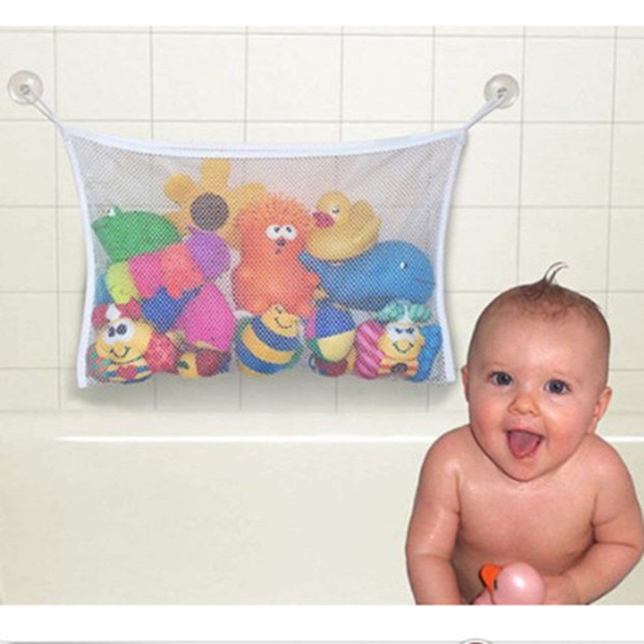 45*35cm Useful Durable Baby Kids Children Bath Toys Pouch Storage Containers Net Mesh Bag Strong Sucker