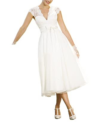 Abaowedding Women S Lace V Neck Chiffon Sleeveless Tea Length