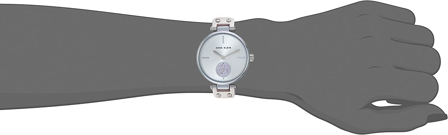 Anne Klein Women's Swarovski Crystal Accented Leather Strap Watch Lavender/Silver