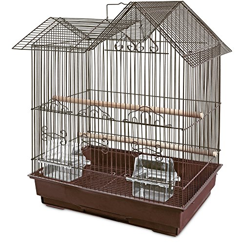 You & Me Parakeet Ranch House Cage, Brown, 16.5 in
