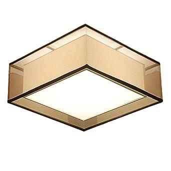 Stoff braun LED Deckenleuchte quadratische Eisen Wohnzimmer ...