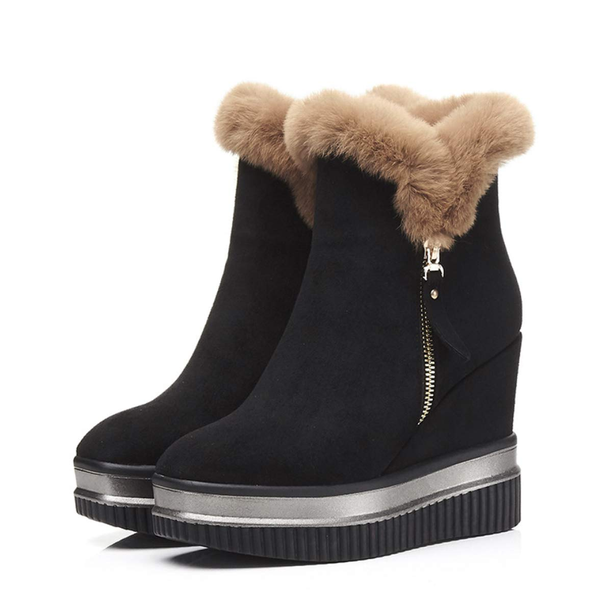 Black Women's shoes Fall & Winter Ankle Boots Wedge Heel Boots Round Toe Super High Heel Boots