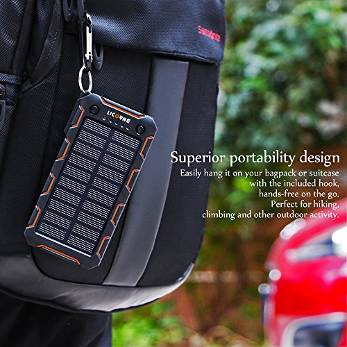 Solar Chargers15000mAh lightweight Solar electrica Bank excessive Efficiency Sunpower Cellphone Chargers Rain protection Dirt Shockproof Backup with the help of enhance USB Port Solar Battery Charger for iPhone 7 6s Plus iPad Pro Air 2 miniature Galaxy S7 S6 Edge Plus Note 5 4 LG Nexus HTC and much more Solar Chargers