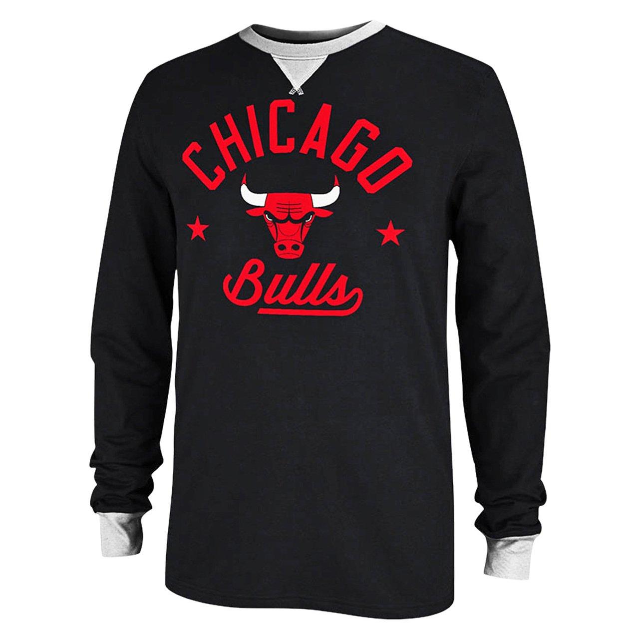 シカゴブルズAdidasブラック長袖アップリケクルーシャツ B00PGSXD0U  Small