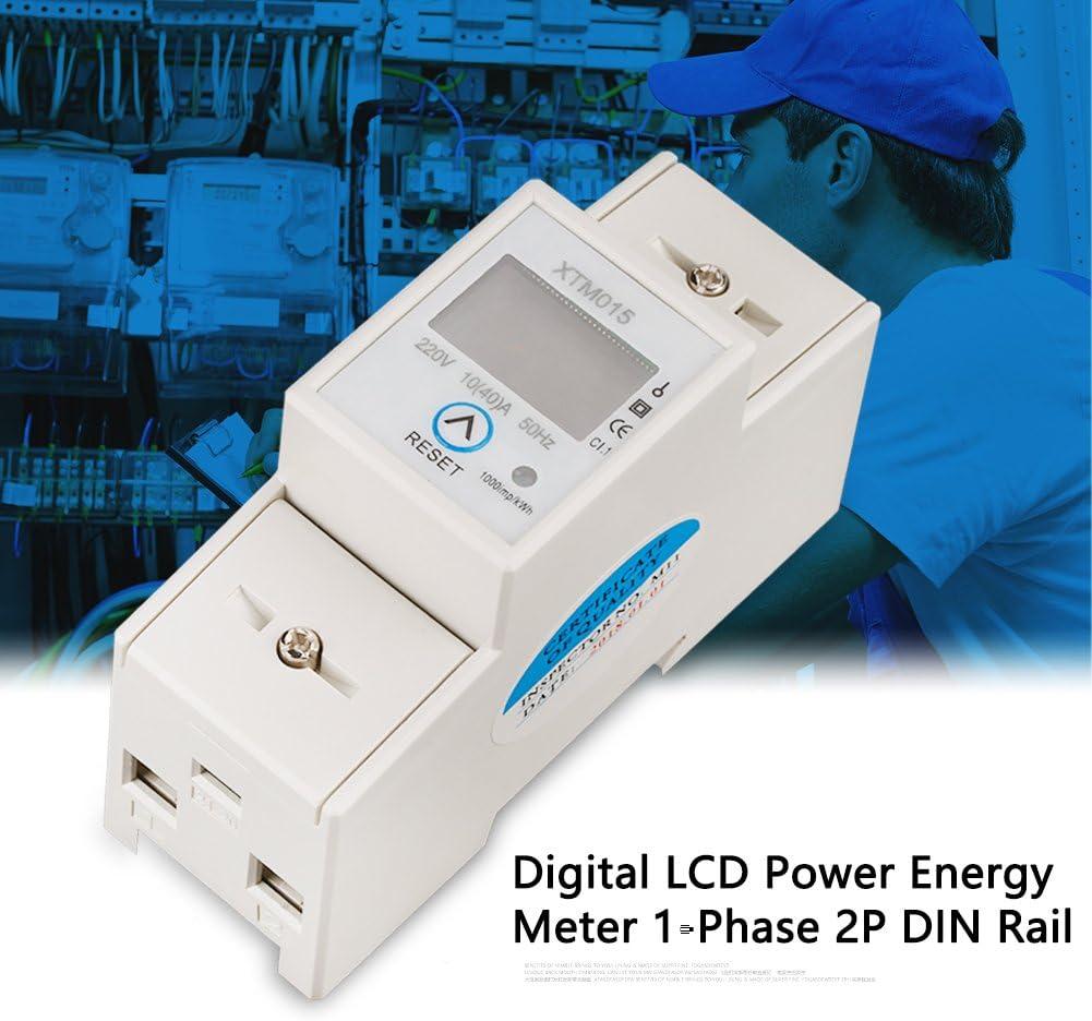 TOPINCN Compteur dEnergie Num/érique Electrique Monophas/é /à 2 Fils 2P de Type Rail DIN