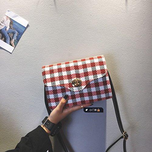 Paquete GaiBao Femenina Coreana nuevo estilo Harajuku sub-paquete de mano elegante y versátil vientos locales asumir un paquete de álgebra lineal, la pequeña rejilla roja La rejilla roja