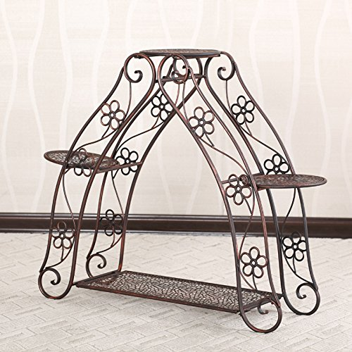 Blumenregal Eisen Boden-Typ 4-fach faltende Blumentöpfe Regal Europaweit im Innen - und Außenbereich ( farbe : Messing , größe : 74cm*22.5cm*67.5cm )