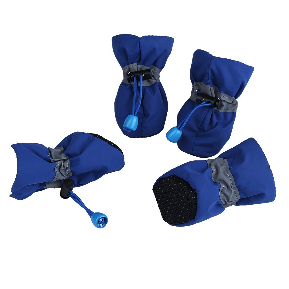 Royal Wise Dog Boots Pet Shoes Soft and Breathable For Small Dogs 6-15lb All Weather (M, SprBlue)