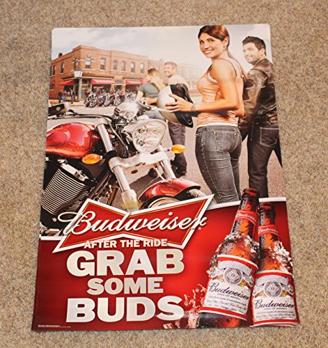 - BUDWEISER Promo Pinup Poster After The Ride Grab Some Buds