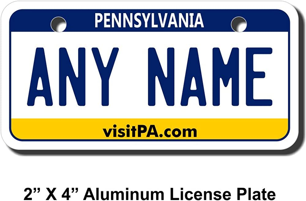 TEAMLOGO Personalized Pennsylvania License Plate - Sizes for Kid's Bikes, Cars, Trucks, Cart, Key Rings Version 2