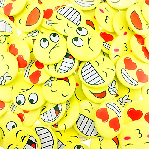 Wankko 72PCS Mini Smiley Smile Face Button Pins,1.2 Inch Size - Face Mini Button