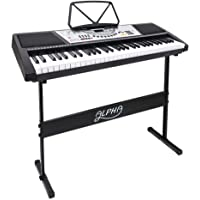 ALPHA 61-Key Portable Electric Piano Keyboard with Adjustable Stand LED Display Screen