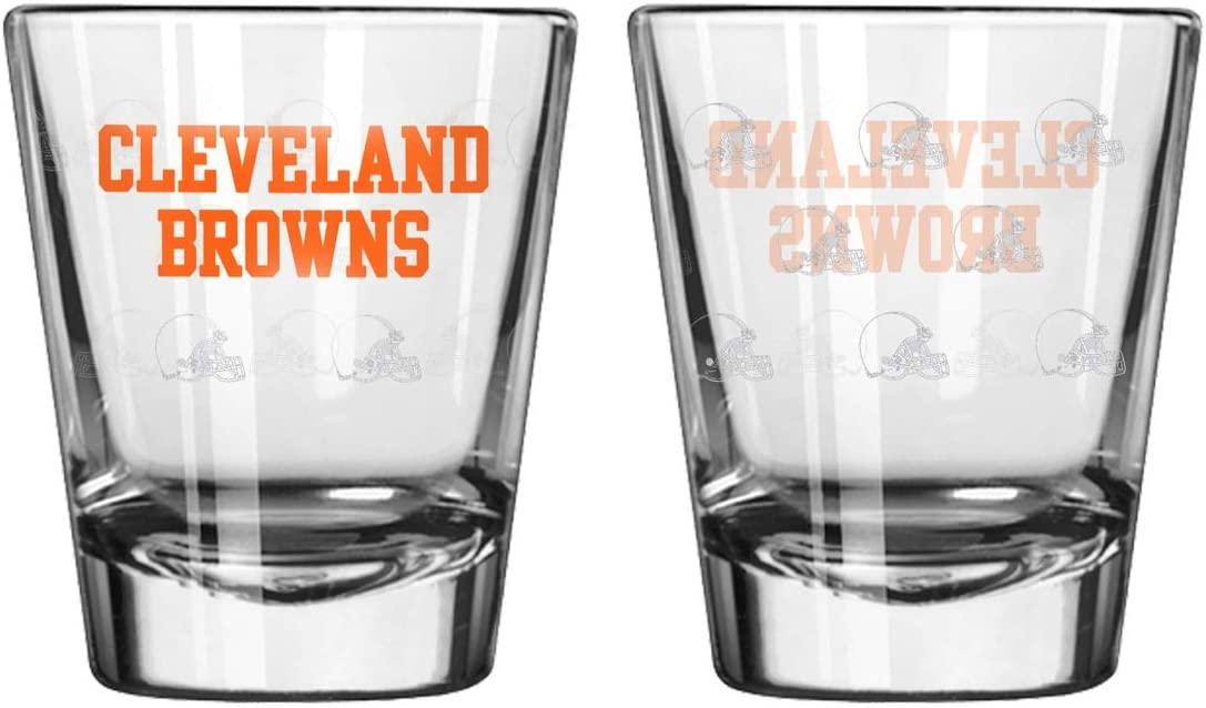 2 Pack Satin Etch Cleveland Browns Shot Glass