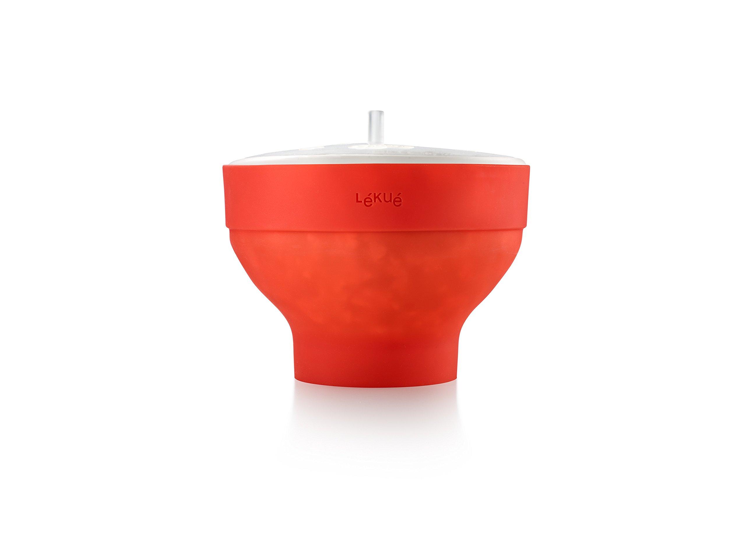 Lékué Recipiente para cocinar Palomitas, Silicona, Rojo, 20 cm