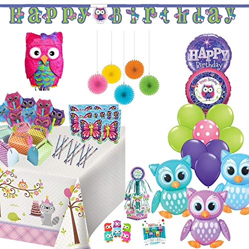 Owl Party Supplies Birthday Party Set: Pink Owl Pinata, Favors and Decorations, Balloon and eBook (Owl 2nd Birthday Party Supplies)