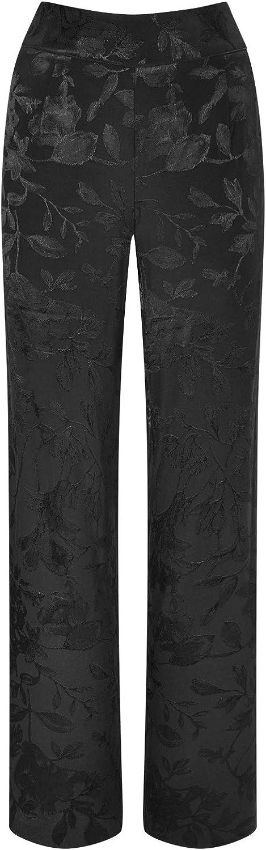 Joe Browns Womens Black on Black Floral Wide Leg Trousers Black