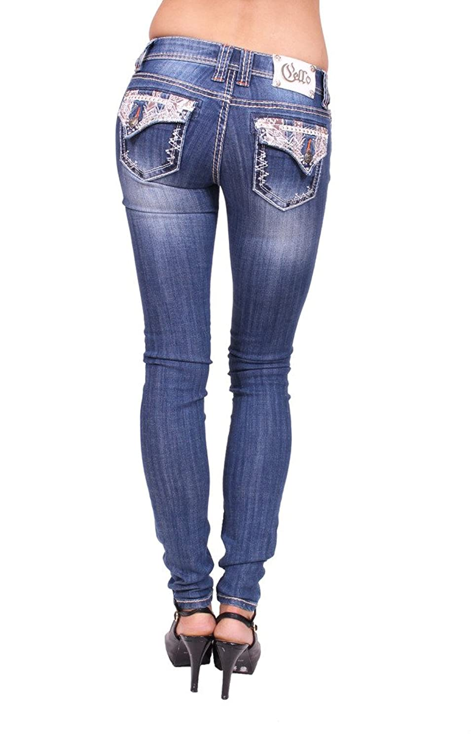 Cello Jeans Women Skinny Jeans with Aztec Print and Rhinestones