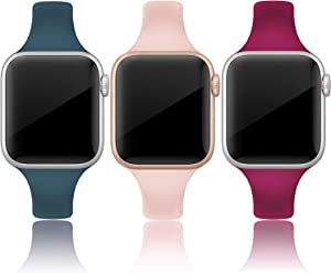 QusFy Silicone Band Compatible with Apple Watch 38mm 40mm, 3 Packs Sport Silicone Narrow Slim Thin Small Soft Replacement Strap Compatible with iWatch Series 6, 5, 4, 3, 2, 1, SE, Sport & Edition Women Men