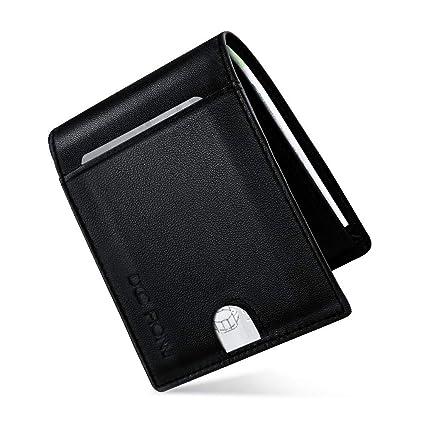 Hombre Cartera de piel, Billetera Delgada RFID Bloqueo Anti-robo Cuero Tarjeta de Crédito 11 Ranuras Regalo para hombre