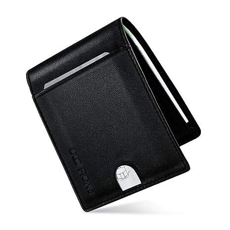 Hombre Cartera de piel, Billetera Delgada RFID Bloqueo Anti-robo Cuero Tarjeta de Crédito