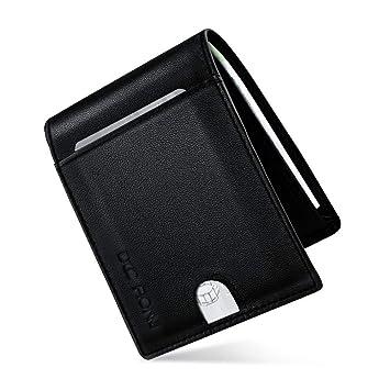 Hombre Cartera de piel, Billetera Delgada RFID Bloqueo Anti-robo Cuero Tarjeta de Crédito 11 Ranuras Regalo para hombre: Amazon.es: Equipaje