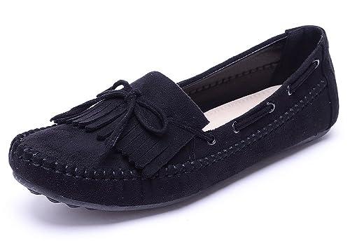 Odema Mocasin Plano con Lazo y Flecos de Empeine de Gamuza para Mujer: Amazon.es: Zapatos y complementos