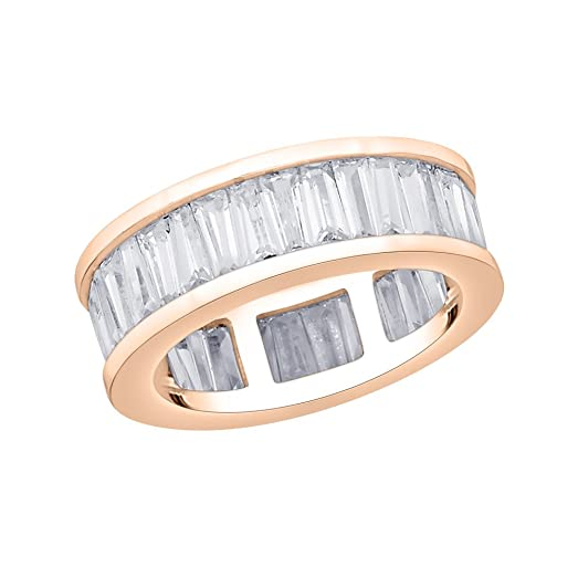 Amazon.com: Baguette Cut Diamond Eternity Wedding Band in 14K Gold ...