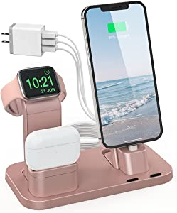 Charging Station for Apple Product, Conido 3 in 1 Charging Station for iPhone 12 mini/12 Pro Max/SE New/11 Pro Max, for AirPods/AirPods 2, for Apple Watch SE Series 6/5/4/3/2/1 Charger Rose Gold