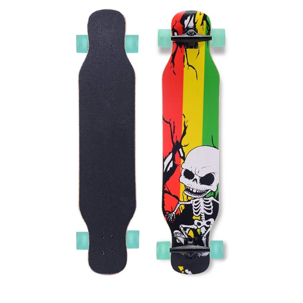 完全なスケートボードプロスケートボードダブルキックテール高品質7層メープルスケートボード4ホイール用キッズ男の子女の子大人初心者 C