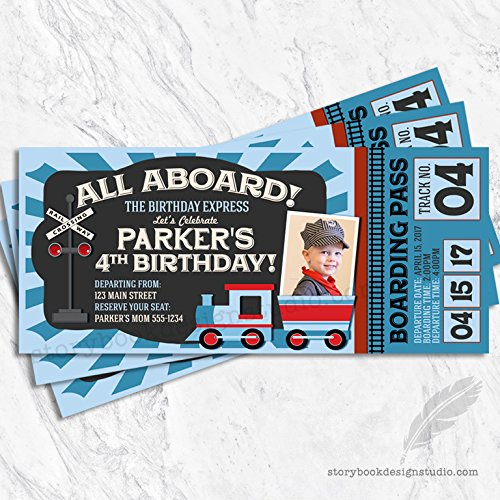 Train Ticket Birthday Party Invitations (Set of 10) Personalized]()