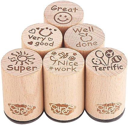 6 sellos redondos de goma de madera para la enseñanza en inglés de ...